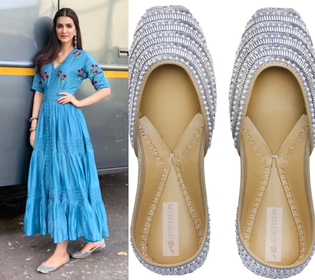 Kriti Sanon in The Right Cut and Needledust juttis for Luka Chuppi promotions (1)