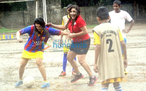 Rakhi Sawant & Carlyta Mouhini play football for under privileged children