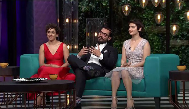 Watch Aamir Khan graces Koffee with Karan couch with on-screen daughters Sanya Malhotra and Fatima Sana Shaikh