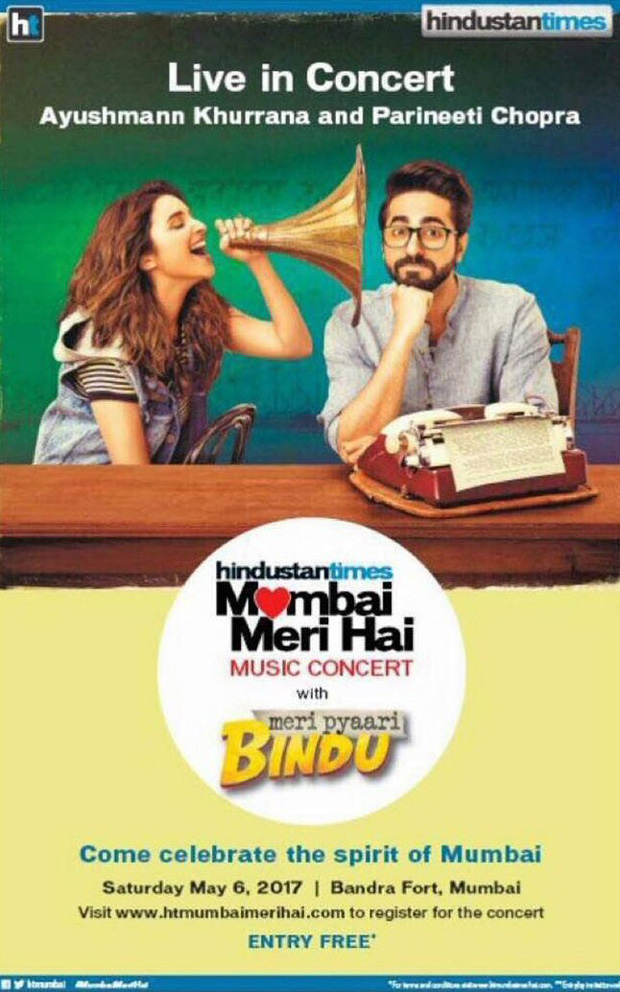 Ayushmann Khurrana and Parineeti Chopra to do a live concert for Meri Pyaari Bindu