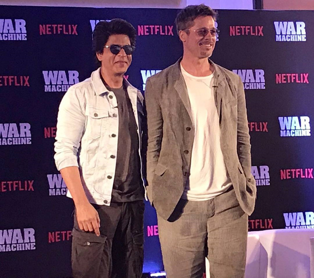 WATCH: OMG! Superstars Shah Rukh Khan and Brad Pitt in one frame for Brad's Netflix film War Machine promotion is breaking the Internet