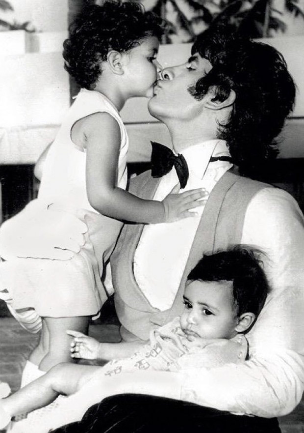 CUTE: This throwback image of Abhishek Bachchan and Shweta Nanda with father Amitabh Bachchan on sets of Amar Akbar Anthony is just adorable