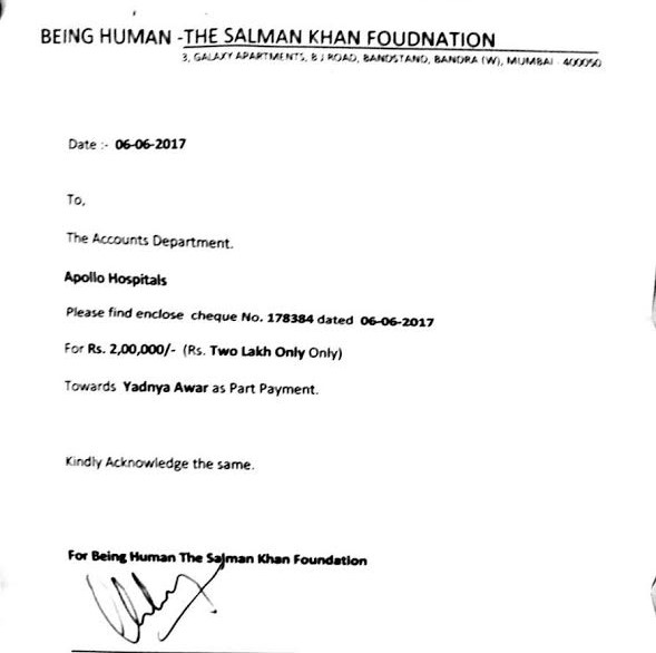 Salman Khan's foundation Being Human supports a two-year-old baby's liver transplant1