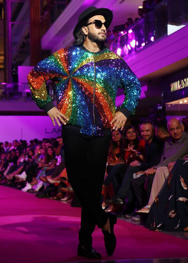 Check out: Ranveer Singh added more sparkle and colour with his rainbow jacket at the Lakme Fashion Week 2017