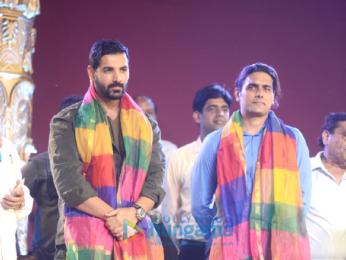 John Abraham snapped attending a Dussehra celebration in Delhi