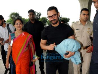 Aamir Khan, Zaira Wasim, Prateik Babbar, Kim Sharma, and Aditi Rao Hydari snapped at the airport