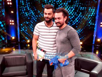 Aamir Khan and Virat Kohli snapped on the sets of a chat show to promote Secret Superstar
