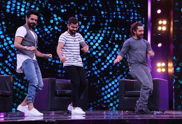 WATCH: Aamir Khan grooves on Salman Khan's 'Dhinka Chika' song with Virat Kohli; tries bhangra