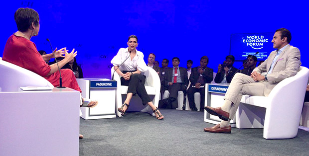 Deepika Padukone attends a session on mental health at World Economic Forum 03