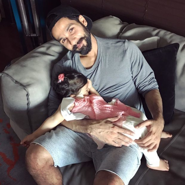 This photo of Misha Kapoor sleeping in daddy Shahid Kapoor's arms is adorable!