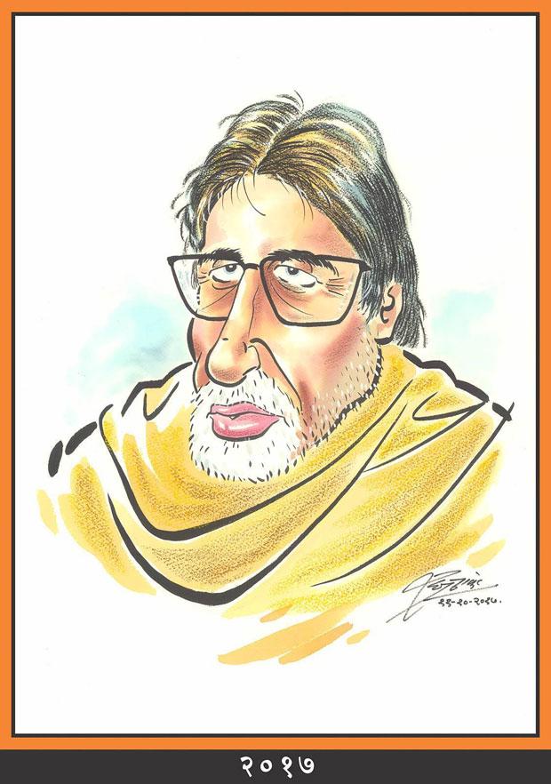 Raj Thackeray wishes Amitabh Bachchan through his caricatures-6---2017
