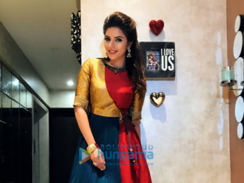 Shama Sikander snapped attending Navratri celebrations