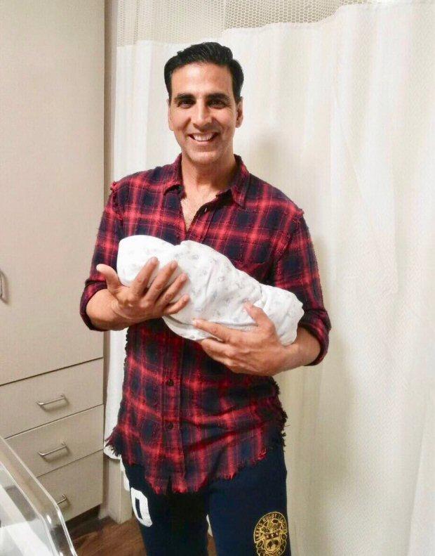 WOW! Akshay Kumar poses happily with Asin's new-born baby