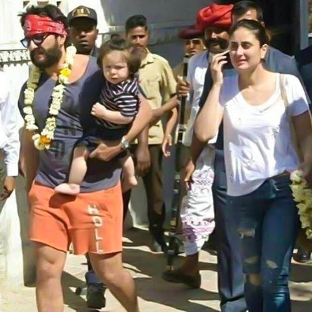 Saif Ali Khan and Kareena Kapoor Khan take Taimur Ali Khan on jeep ride in Rajasthan; Saif plays cricket while Taimur and Kareena watch