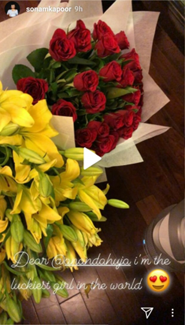 Valentine's Day: Sonam Kapoor receives red roses from Anand Ahuja; walks hand-in-hand with him in a black and white photo