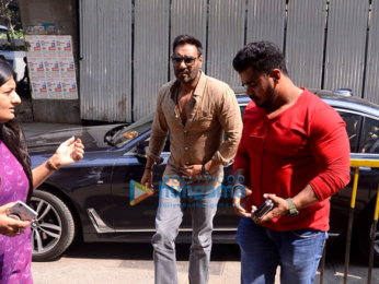 Ajay Devgn snapped promoting his film Raid