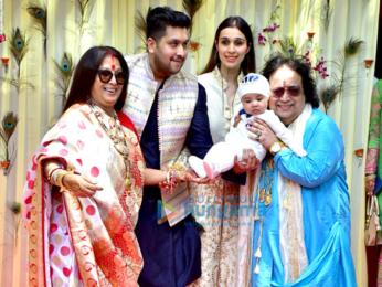 Bappi Lahiri and Chitrani Lahiri attend the rice ceremony of their grandson Krishh Lahiri