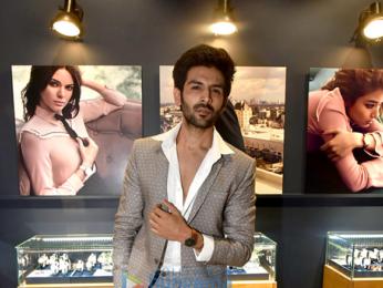 Kartik Aaryan and Nidhhi Agerwal at the Daniel Wellingston store launch