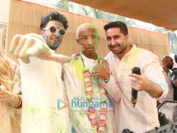 Pharrell Williams snapped with Ranveer Singh and DJ Khushi Soni