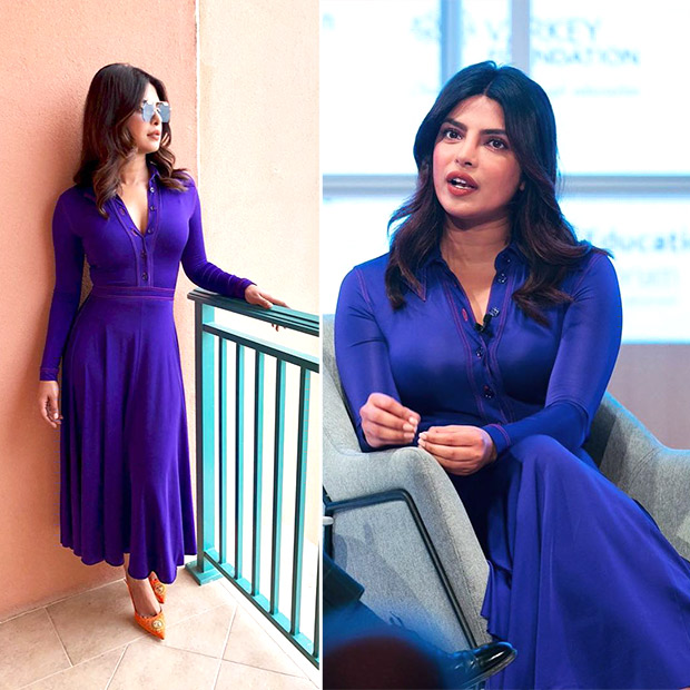Priyanka Chopra at the GESF Discussion in Dubai wearing Nina Ricci