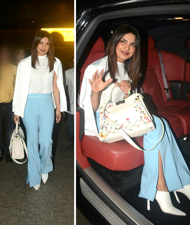 Priyanka Chopra teamed her monochrome separates with Sergio Rossi shoes