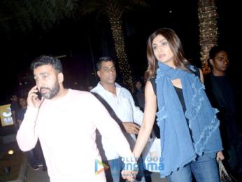 Shilpa Shetty with husband Raj Kundra snapped at Yauatcha in Bandra