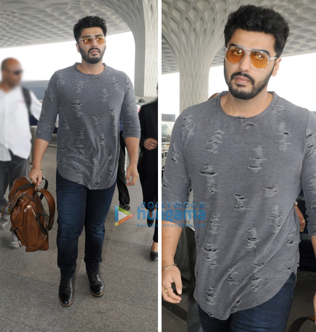 Weekly Airport Style: Arjun Kapoor rocks the distressed tee with denims