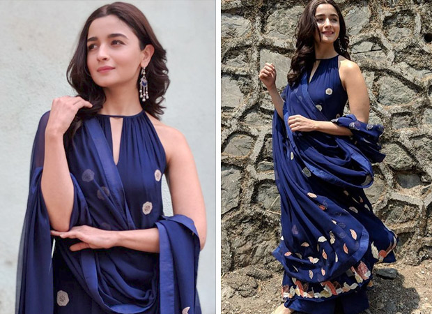 Alia Bhatt in blue for Raazi promotions
