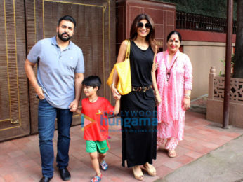 Raj Kundra and Shilpa Shetty with her family spotted at son Vivaan's school in Juhu