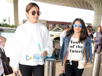Raveena Tandon with daughter, Nora Fatehi snapped at the airport