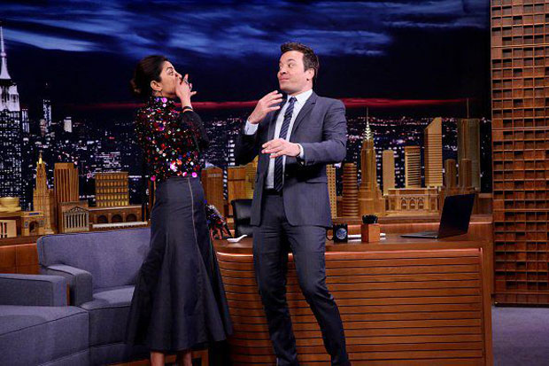 Priyanka Chopra challenges Jimmy Fallon to gulp 10 skittles at once on The Tonight Show Starring Jimmy Fallon