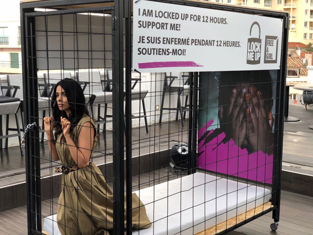 Mallika Sherawat locks herself in a cage as part of the Lock-Me-Up campaign at Cannes 2018