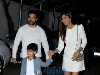Shilpa Shetty snapped with her family at her son's birthday celebrations