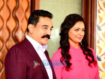 Kamal Haasan and Pooja Kumar snapped doing media interviews for Vishwaroop 2