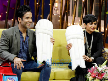 Tusshar Kapoor, Mandira Bedi and Rajeev Khandelwal snapped on sets of the show Juzz Baatt