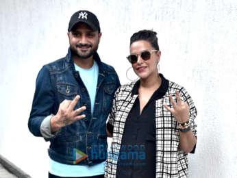 Harbhajan Singh and Neha Dhupia snapped on sets of the show #NoFilterNeha Season 3