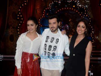 Shraddha Kapoor, Yami Gautam and Divyendu Sharma snapped during Batti Gul Meter Chalu promotions on Comedy Circus
