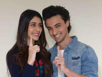 Aayush Sharma and Warina Hussain snapped promoting LoveYatri Delhi
