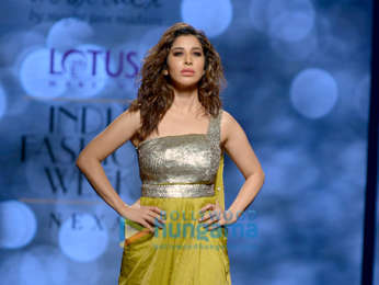 Sophie Choudry walks the ramp in an abstract design by Megha Jain Madaan