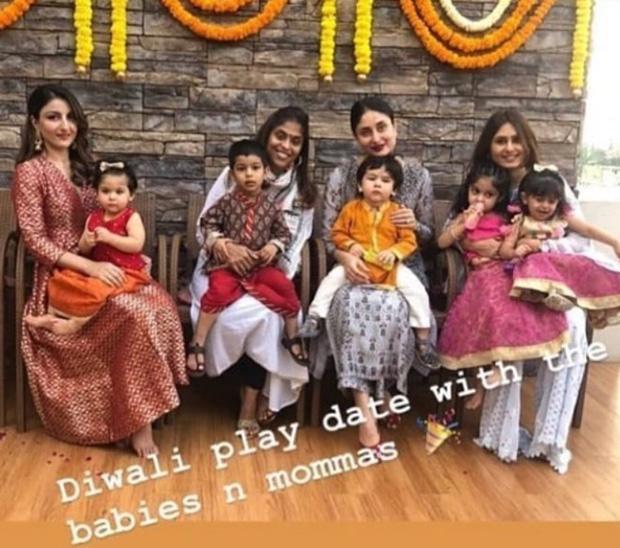 Cutiepies Taimur Ali Khan and Inaaya Kemmu are in festive mood with mommies Kareena Kapoor Khan and Soha Ali Khan (see pic)