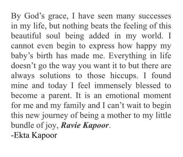 CONGRATULATIONS! Ekta Kapoor becomes a MOTHER via surrogacy (Details inside)