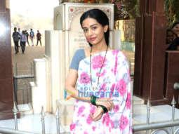 Amrita Rao snapped during a shoot dressed as Meenatai Thackeray for the film Thackeray