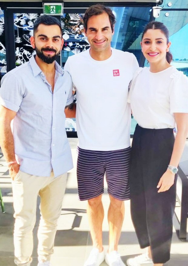 Anushka Sharma And Virat Kohli Meet Roger Federer At Australian Open