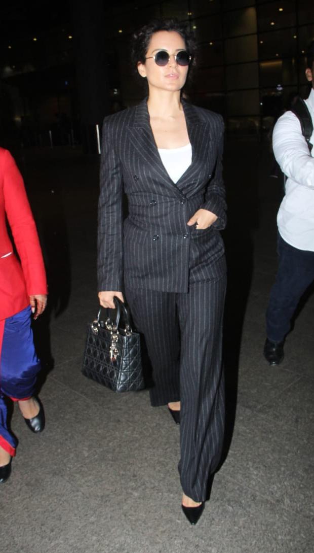 Airport Slay Or Nay: Kangana Ranaut In H&m Suit And Dior Handbag