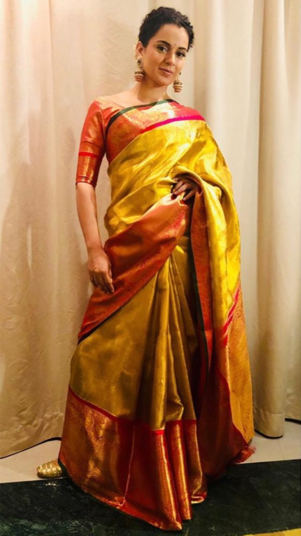 Slay Or Nay: Kangana Ranaut In An Inr 1.75 Lakh Gold Saree From Madhurya Creations For Manikarnika: The Queen Of Jhansi Promotions