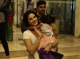 Sunny Leone with Daughter at Hotel Sea Princess