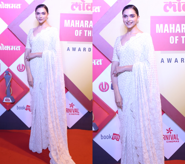 Deepika Padukone looks elegant in white Rahul Mishra saree for Lokmat Maharashtrian Of The Year Award 2019 (4)