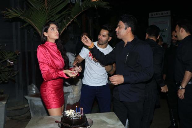 'Dilbar' girl Nora Fatehi rings her birthday with Street Dancer 3D duo Varun Dhawan and Bhushan Kumar