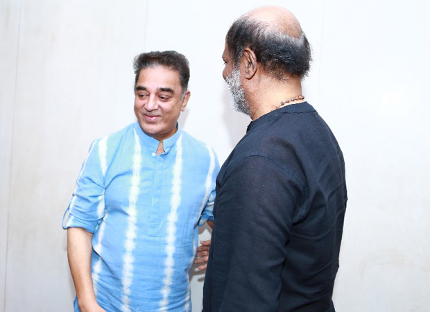 Rajinikanth and Kamal Haasan hug it out in this picture and it makes us wish if they would collaborate soon!