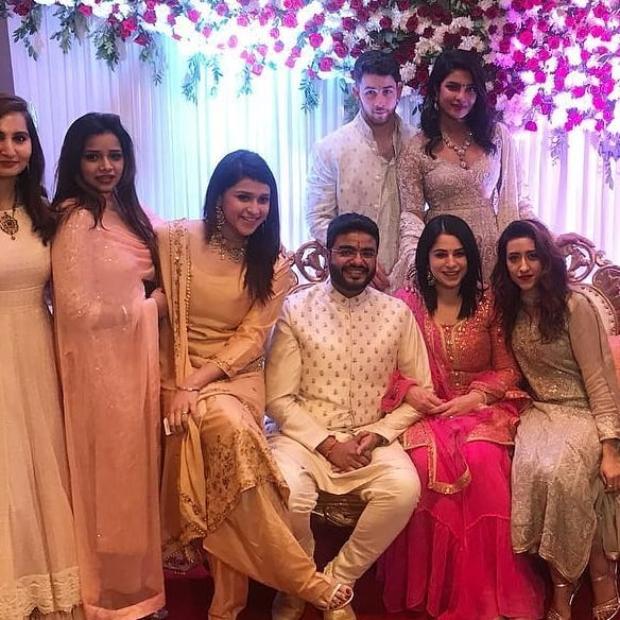 Priyanka Chopra and Nick Jonas twin in their traditional avatars during Siddharth Chopra's roka ceremony